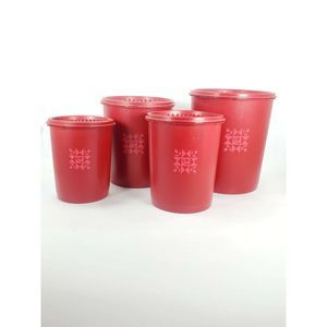 Vintage Tupperware Red Canisters Set of 4
